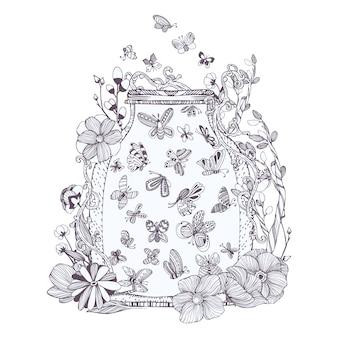 Vaso pieno di farfalle illustrazione