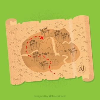 Vecchia mappa del pirata con il cranio