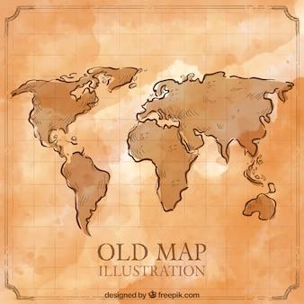 Vecchio disegnata a mano mappa del mondo