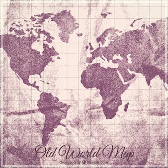 Vecchio sfondo mappa del mondo