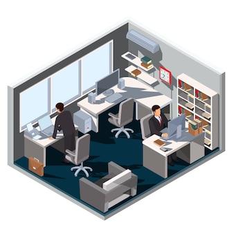 Vector 3D isometrico illustrazione stanza d'ufficio interiore