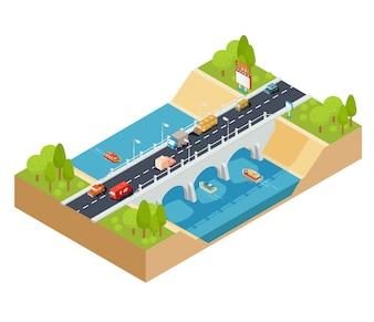 Vector 3D sezione isometrica di un paesaggio con un fiume fluente e ponte di automobile attraverso esso.