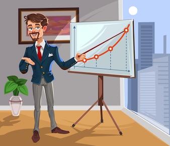 Vector 3d uomo d'affari in una presentazione