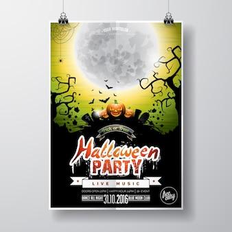 Vector Halloween Party Flyer Design con elementi tipografici e zucca su sfondo verde. Graves, pipistrelli e luna.