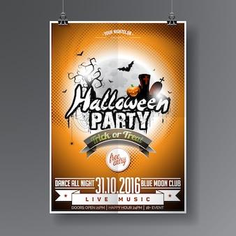 Vector Halloween Party Flyer Design con elementi tipografici su sfondo arancione. Graves, pipistrelli e luna.