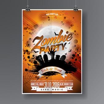 Vector Halloween zombi Party Flyer Design con elementi tipografici su sfondo arancione. Graves e luna.