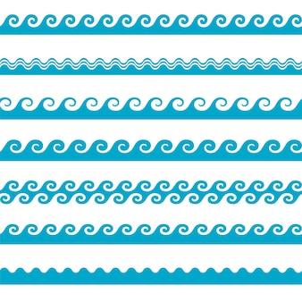 Vector icone ondulate blu impostare su sfondo bianco. Onde d'acqua