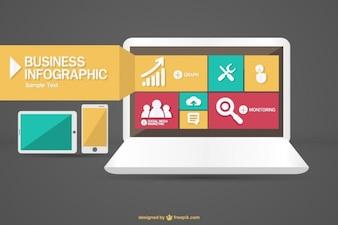 Vector infografica con il computer