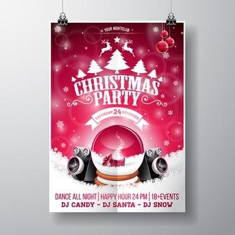 Vector Merry Christmas Party design con elementi di tipografia vacanza e altoparlanti su sfondo lucido.