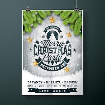 Vector Merry Christmas Party design con elementi di tipografia vacanza e stelle d'oro su sfondo di legno d'epoca.