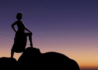 Vector ragazza silhouette sul tramonto. Ragazza stand sulla roccia.