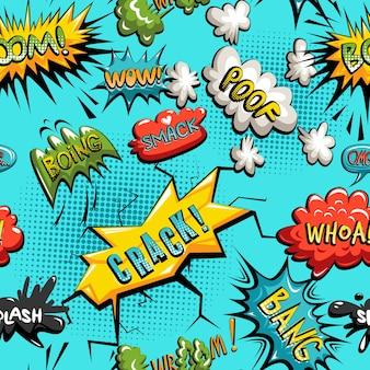 Vector seamless pattern di fumetto fumetto comico