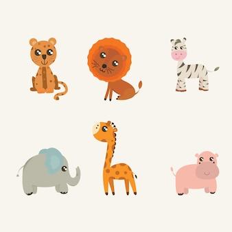 Vector set di animali di safari. Cute ippopotamo, elefante, giraffa, zebra, leone, leopardo in stile cartone animato.