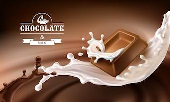 Vector spruzzi 3D di cioccolato fuso e latte con pezzi che cadono di barre di cioccolato.