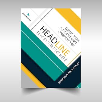 Verde giallo annuncio creativo annuale rapporto di copertina modello