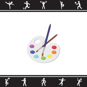 Vernice e pennello. illustrazione vettoriale