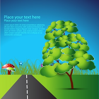Vettore albero verde e strada