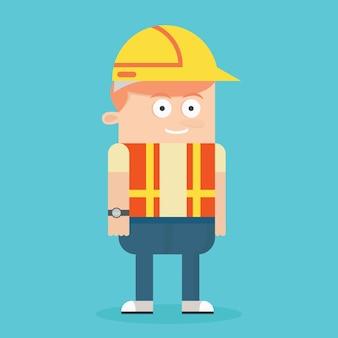 Vettore del costruttore operaio disegno vettoriale fumetto