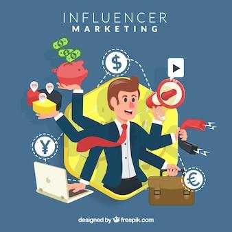 Vettore di marketing influenzatore con uomo d'affari