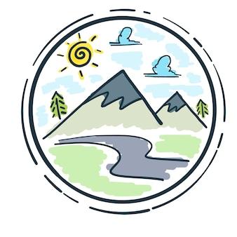 Vettore doodle di montagna