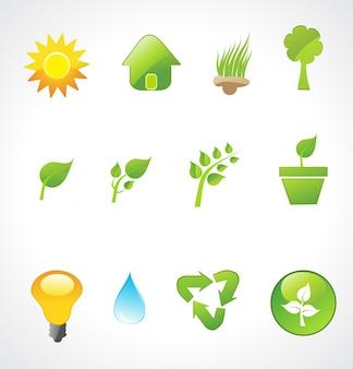 Vettore insieme di icone di ecologia
