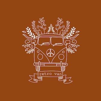Vettore lineart disegno a mano furgone vintage floreale