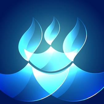 Vettore lucido diwali festival diya su sfondo blu