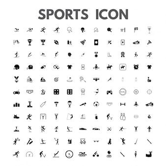 Vettore nero icone sportive impostato su bianco