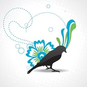 Vettore silhouette di uccello con belle opere d'arte