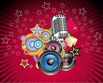 vettoriale musica di sottofondo con altoparlante e microfono