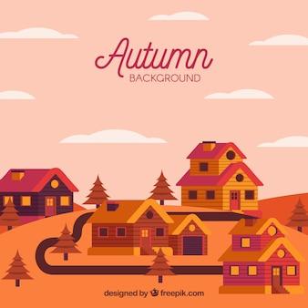 Villaggio carino durante l'autunno