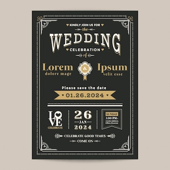 Vintage carta di invito a nozze con il colore nero e oro