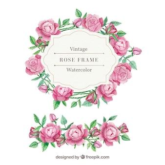 Vintage cornice di rose e foglie di acquerello