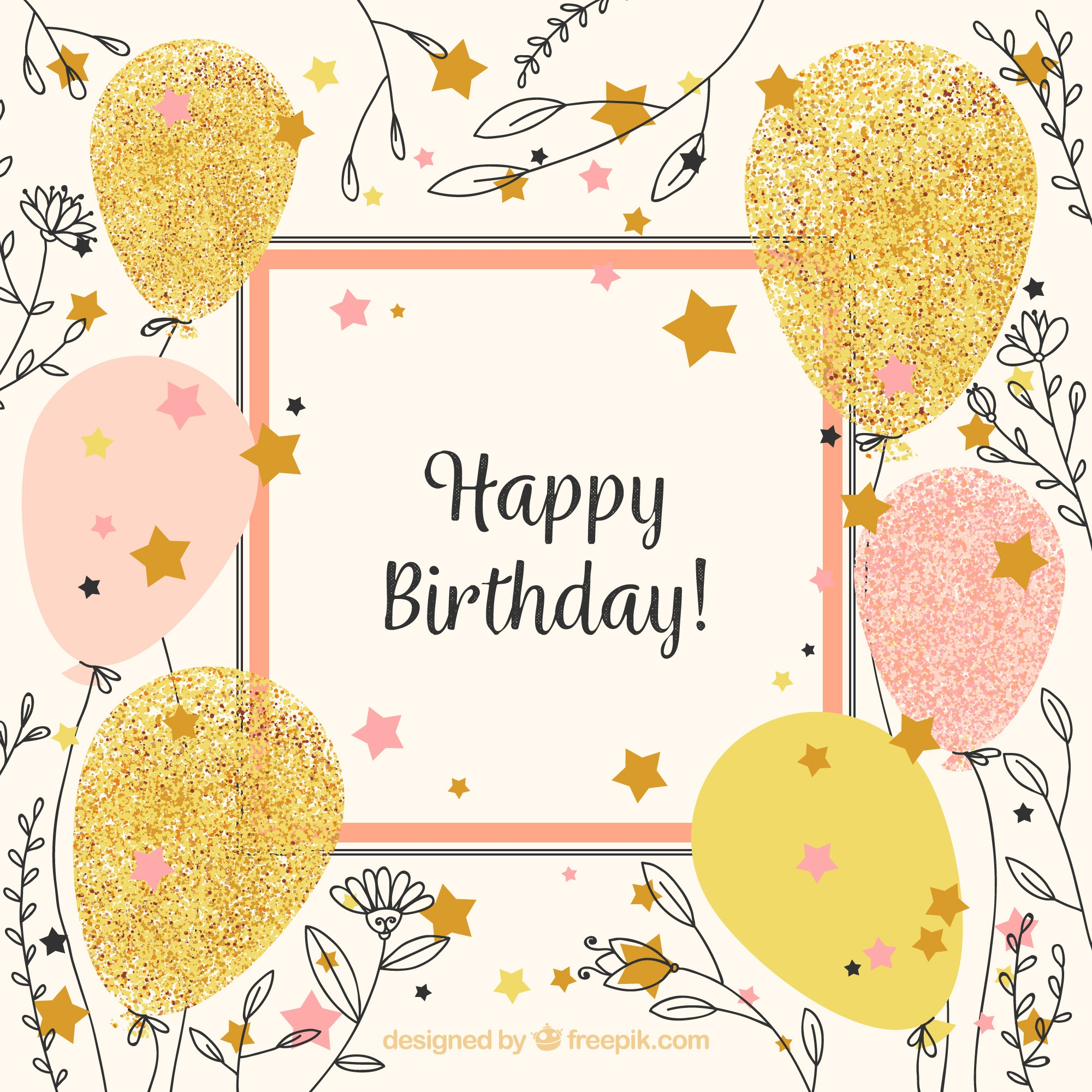 Vintage happy birthday background con palloncini e schizzi di fiore