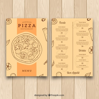 Vintage menu template di pizza disegnata a mano