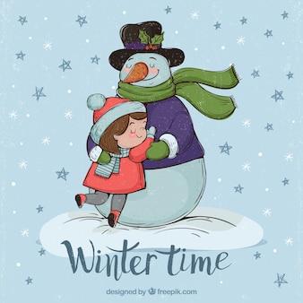 Vintage sfondo di ragazza che abbraccia un pupazzo di neve