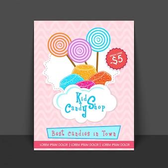 Volantino del manifesto della caramella dei dolciumi