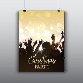 Volantino festa di Natale con silhouette folla