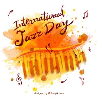 Watercolor background jazz con pianoforte
