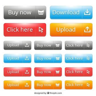 Web pulsanti di diverse dimensioni
