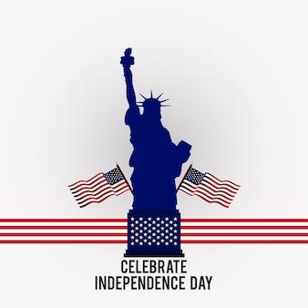 Web4th Luglio Giorno dell'America Happy Independence Day Bandiere americane con statua di libertà su sfondo grigio