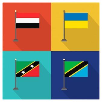 Yemen Ucraina Saint Kitts e Nevis Tanzania Flags