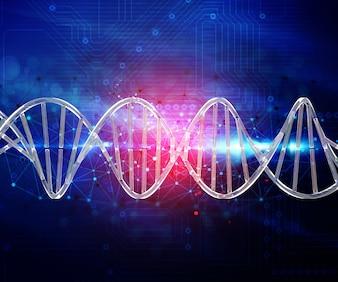 3D abstracte techno achtergrond met verbindende punten en lijnen en DNA-streng