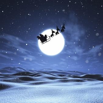 3D geef van de Kerstman en zijn rendier die door een nachtelijke hemel boven een sneeuwlandschap