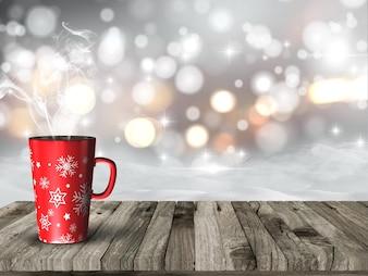 3D geef van een dampende mok van Kerstmis tegen een besneeuwde bokeh achtergrond verlichting