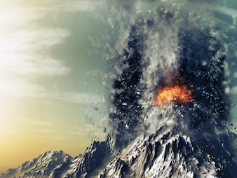3D geef van een exploderende vulkaan