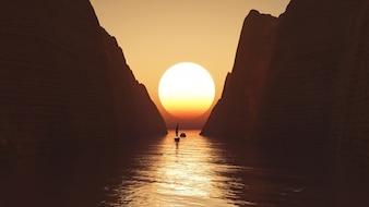 3D geef van een jacht varen in de richting van een zonsondergang hemel