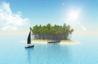 3D geef van een jacht varen op een tropisch eiland met steiger