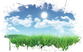 3D geef van een met gras begroeide landschap tegen een blauwe hemel met pluizige witte wolken met een verf splatter kader