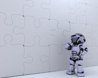 3D geef van een Robot met puzzel bedrijfsmetafoor
